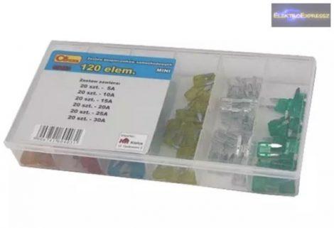 Mini késes biztosíték egységcsomag készlet 120db-os