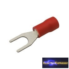 CZ-03360118-Szigetelt villás saru 4.3mm, 0.5-1.5mm Piros