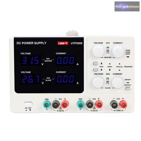 Labortápegység UNI-T UTP3305 2x0-32V/ 0-5A+ (5V-3A)