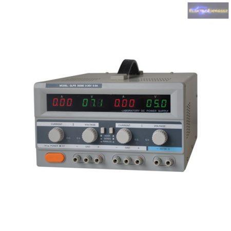 Labortápegység GLPS 3005E 2x0-30V / 0-5A + (5V-3A)