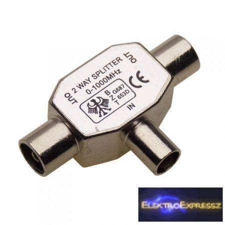 ET-1028 Koax fém elosztó. (dugó/aljzat-aljzat)