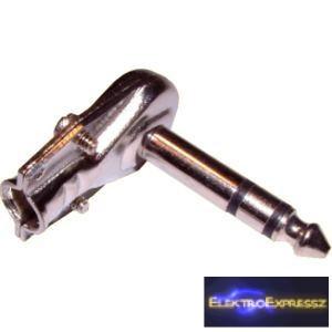 ET-4017 jack sztereó dugó 6,3mm 90 fokos fém test.