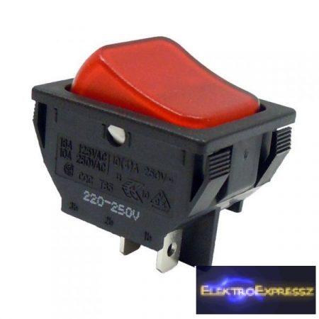 2ák.4p.2áll.Világító billenő kapcsoló.250V/10A.Piros világítással.