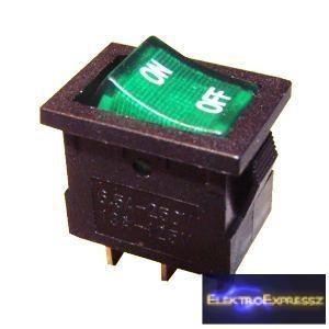 1ák.3p.2áll.Világító Billenő kapcsoló.250V/6A.Zöld világítással.