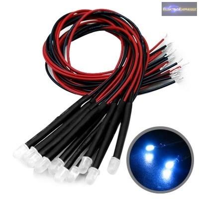 12V Kék LED vezetékkel.