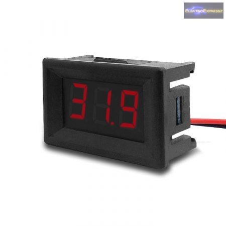 Mini digitális feszültségmérő piros 4.5-30V (2 vezetékes)