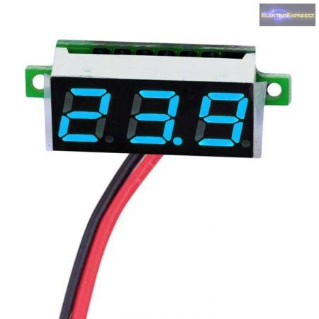 Mini digitális feszültségmérő kék 2.5-30V (2 vezetékes)