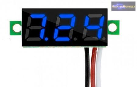 Mini digitális feszültségmérő kék 3.2-30V (3 vezetékes)