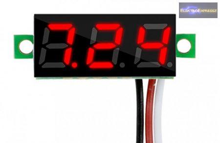Mini digitális feszültségmérő piros 3.2-30V (3 vezetékes)