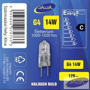 GE-G412V14W Eco-halogén izzó G4 12V 14W