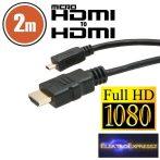 GA-20317 Micro HDMI kábel • 2 m aranyozott csatlakozóval