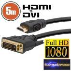 GA-20382 DVI-D / HDMI kábel • 5 m aranyozott csatlakozóval