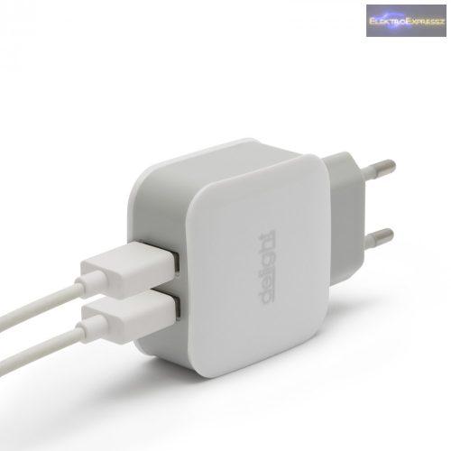 USB Hálózati adapter fehér 5 V - 2.1 A