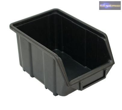 Tároló doboz, ecobox közepes, 155×240×125mm, műanyag, fekete, használt.
