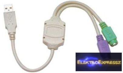 LP-KOM0212 Adapter , átalakító USB csatlakozó 2db PS/2 csatlakozó
