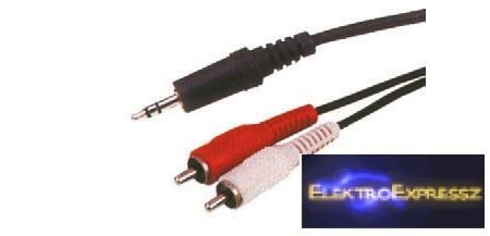 LP-KPO2747-1.8 Jack Kábel 3.5 dugó -  2X RCAdugó 1.8M