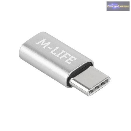 Micro USB - USB Type-C átalakító adapter ezüst