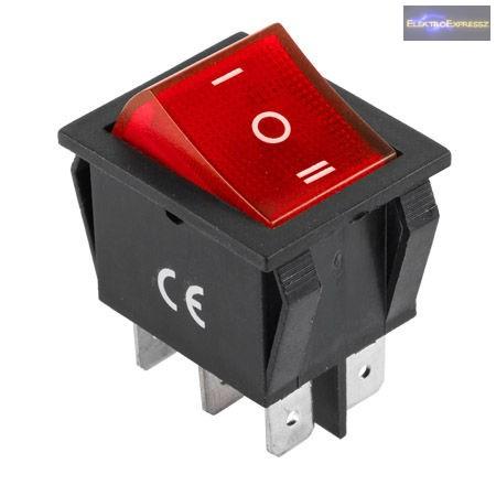 CZ-02620040-Billenő kapcsoló 2pol./6pin ON-ON 250V/15A - átlátszó piros