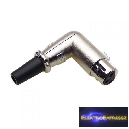 ET-3012B XLR 90 fokos aljzat, erős fém házban. 3 pólusú