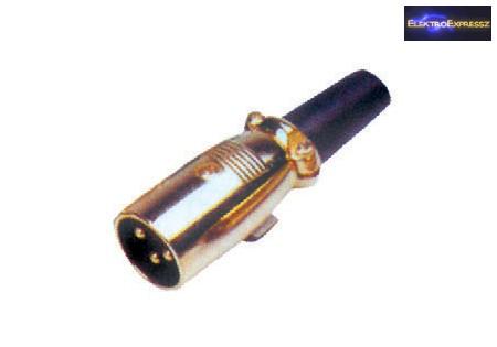 GA-05196 XLR dugó • 3 pólusú 3 pólusú Aranyozott Fém kivitel Szorítópofás törésgátlóval