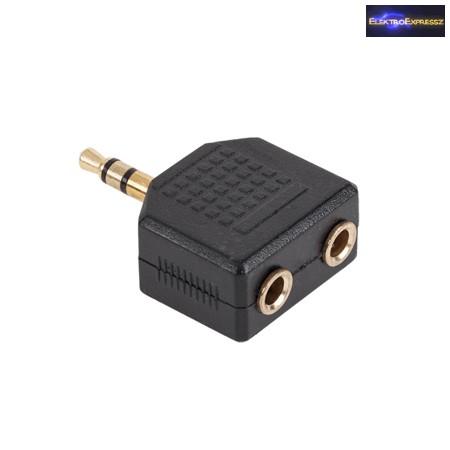2x 3,5mm JACK aljzat -> 3,5mm JACK dugó aranyozott átalakító