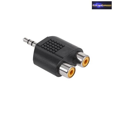 Adapter 3,5mm JACK dugó -> 2x RCA aljzat