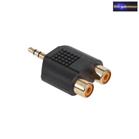 3,5mm JACK dugó -> 2x RCA aljzat aranyozott átalakító