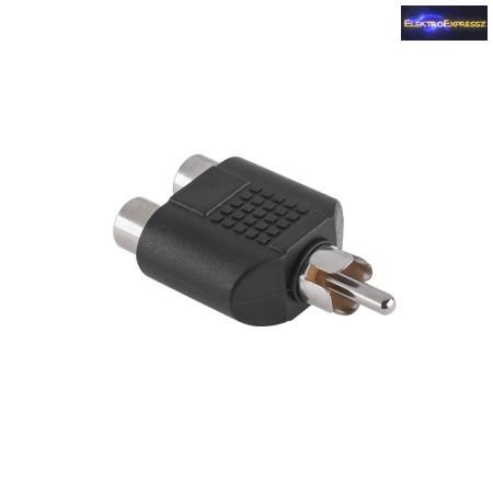 RCA dugó ->2x RCA aljzat átalakító adapter